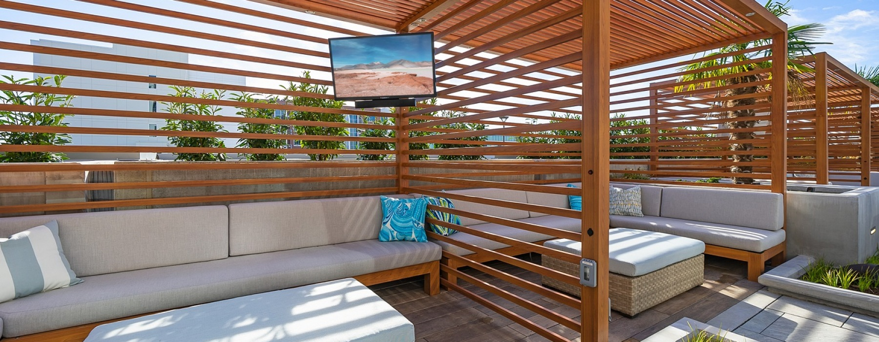 Cabanas with Seating and Televisions