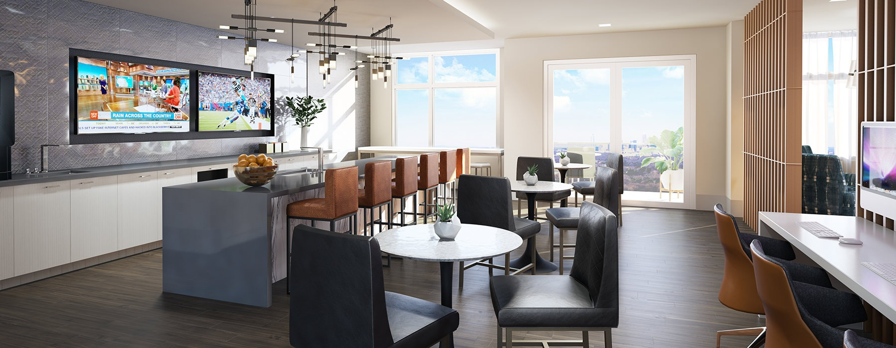 Spacious resident lounge with bar, large TVs and plenty of natural lighting